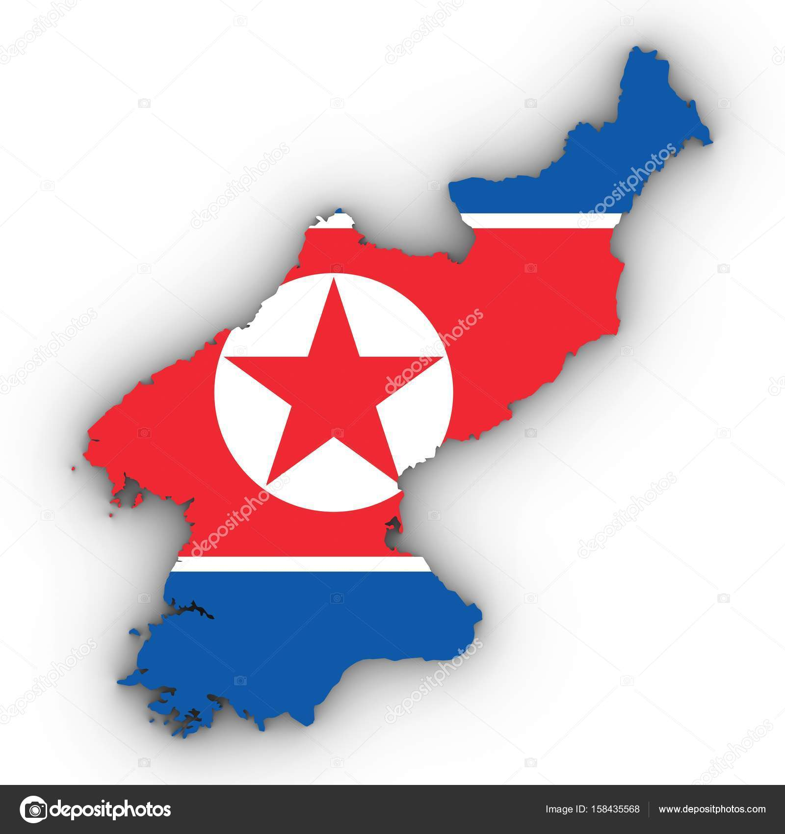 North Korea Map Outline With North Korean Flag On White With Sha