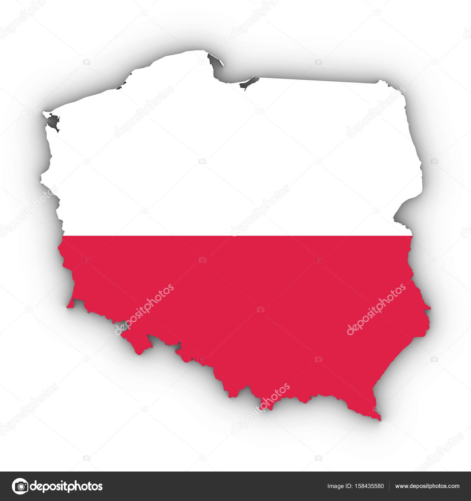Poland Map Outline with Polish Flag on White with Shadows 3D Ill ...
