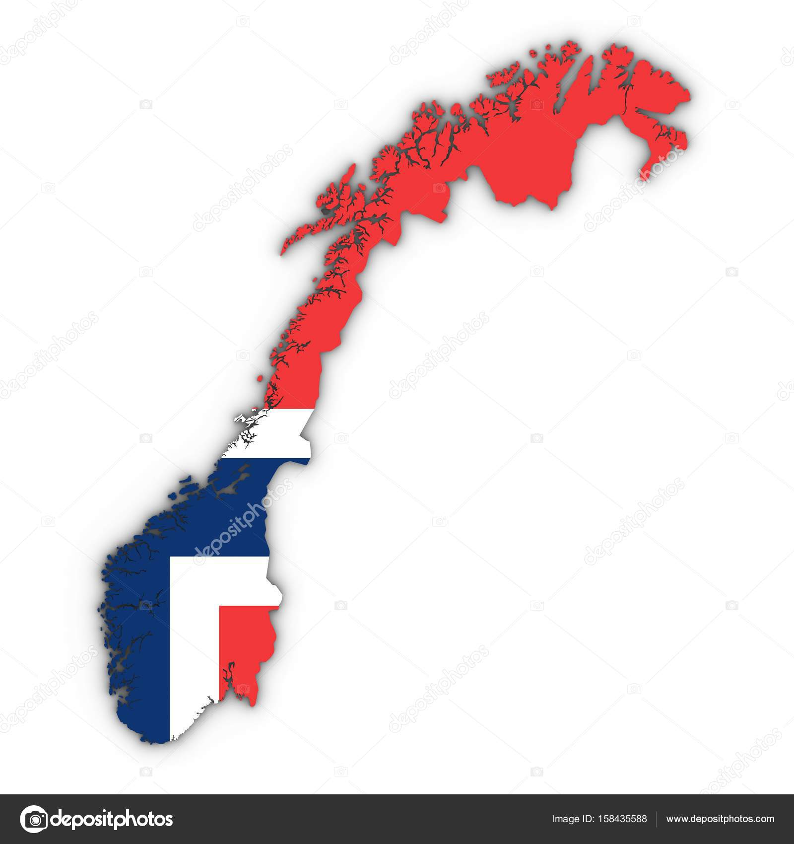 norway map outline with norwegian flag on white with shadows 3d