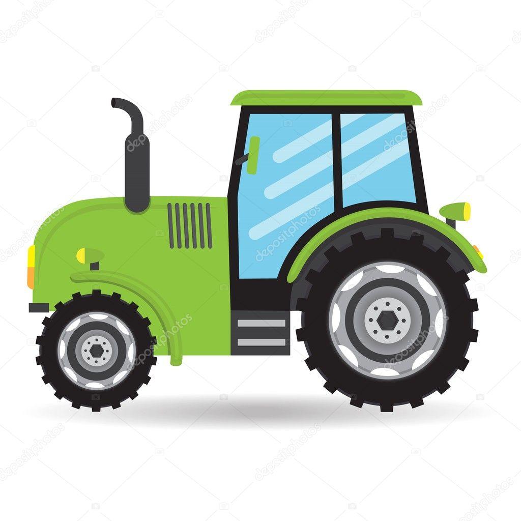 Kresleny Zelene Ploche Vektor Traktor Vozidla Farmy Ikona Na Bilem