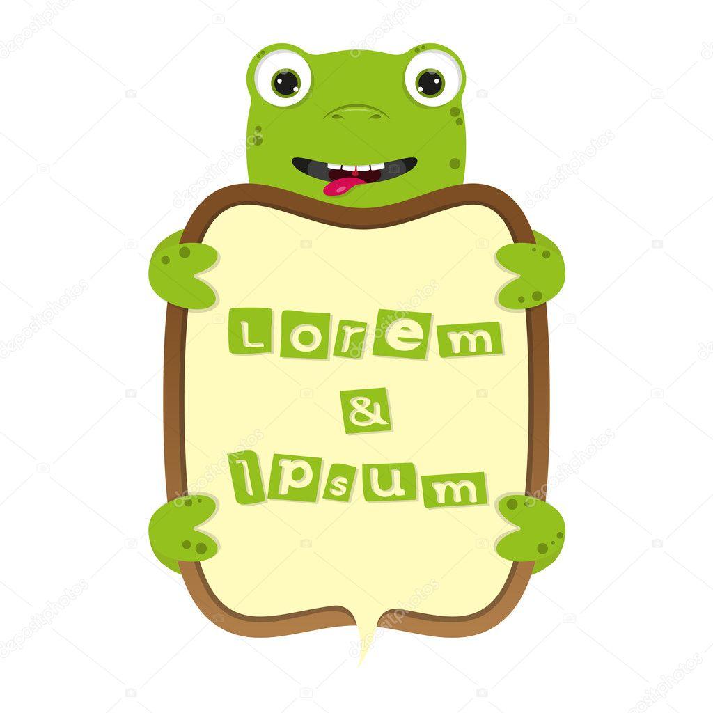 cute dibujos animados tortugas o ranas frontera negocio marco con ...