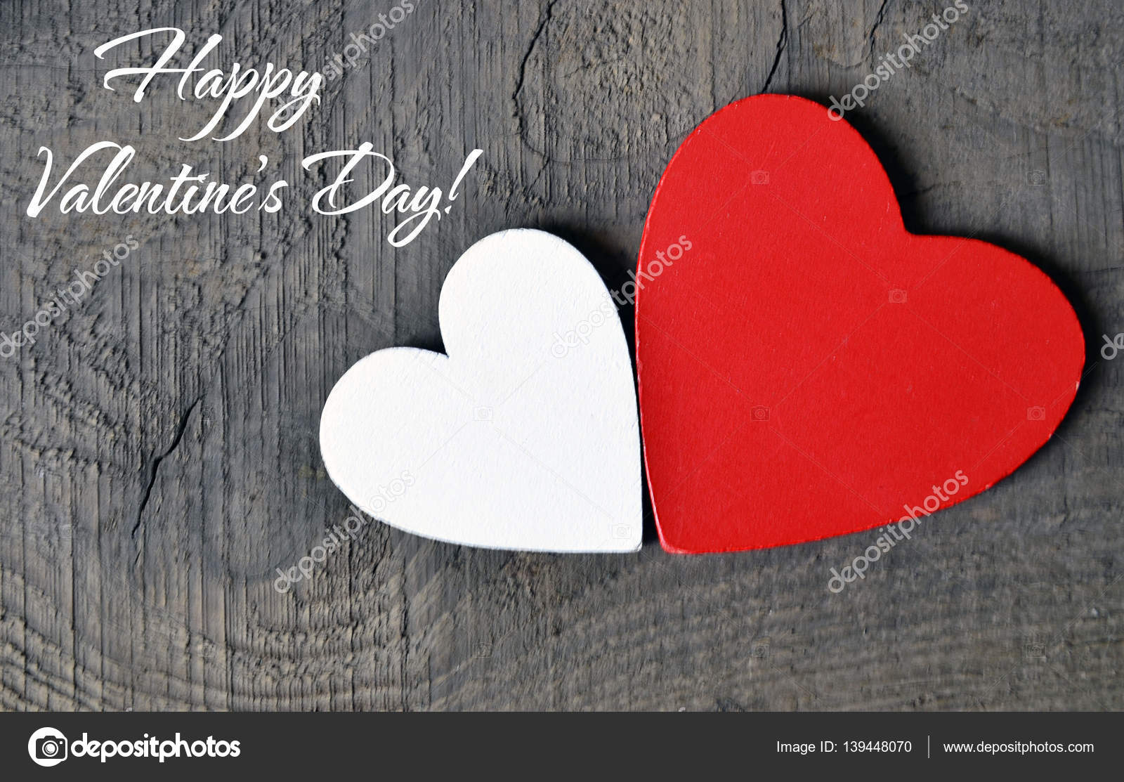 Happy Valentines Day Background Decorative Red And White Wooden Hearts On A Grey Rustic