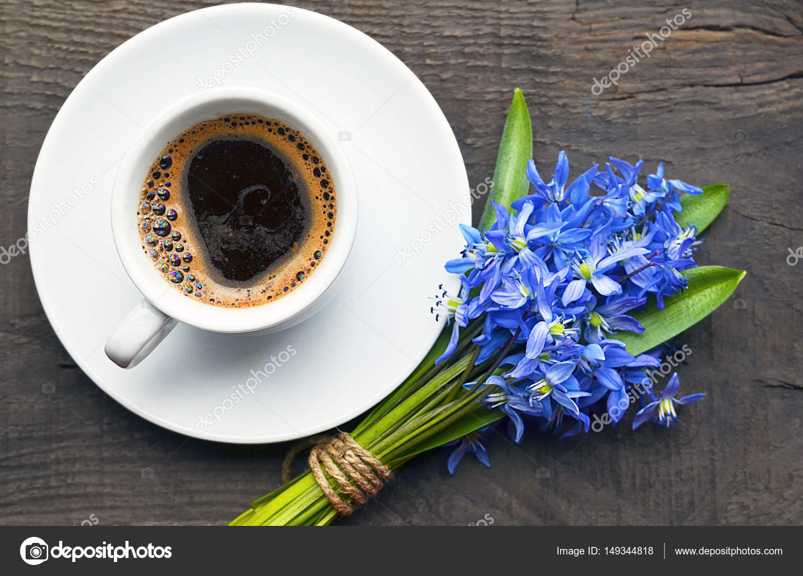 Coffee Cup And Bouquet Of First Spring Flowers On Old Rustic Wooden Table Spring Morning Breakfast Good Morning Concept Stock Photo Image By Severinova 149344818