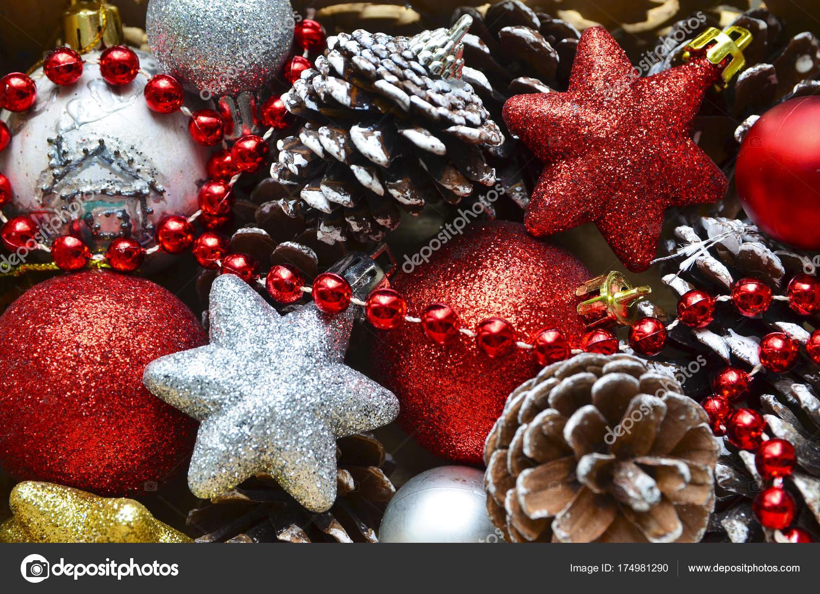 Christmas Tree Decoration Red Silver Shiny Balls Stars Pine Cones Stock Photo C Severinova 174981290