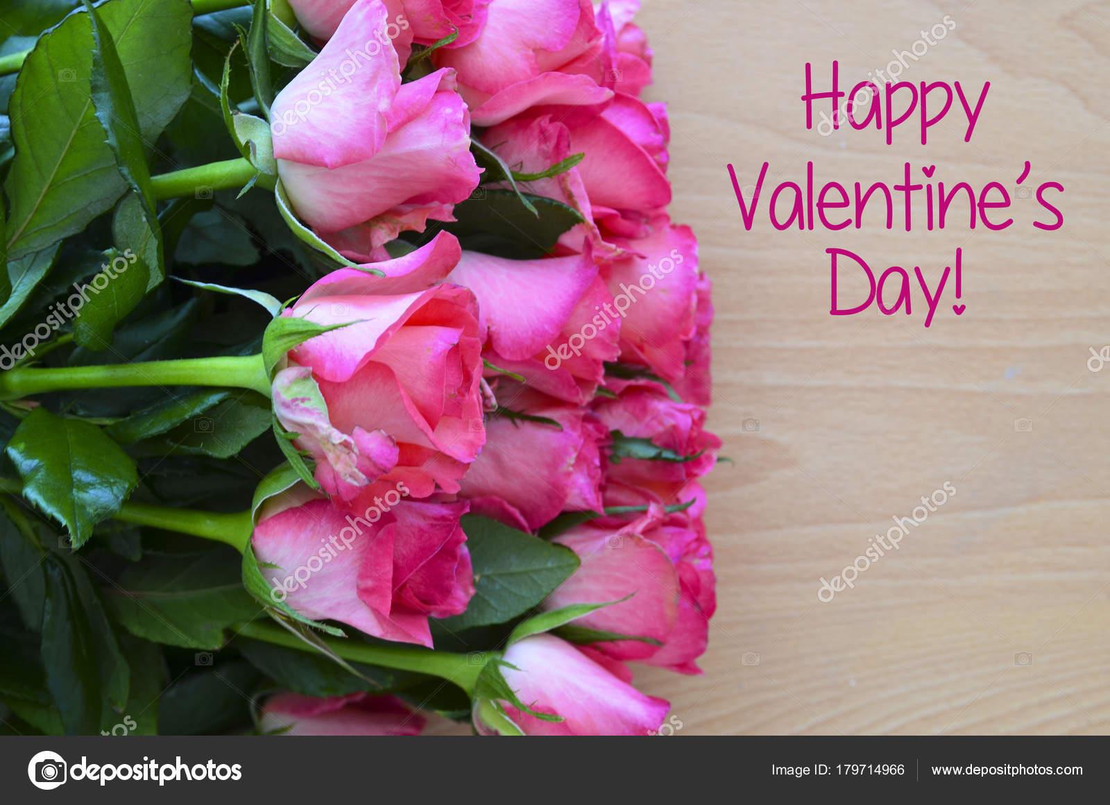 Happy Valentine Day Bouquet Pink Roses Wooden Background Valentine
