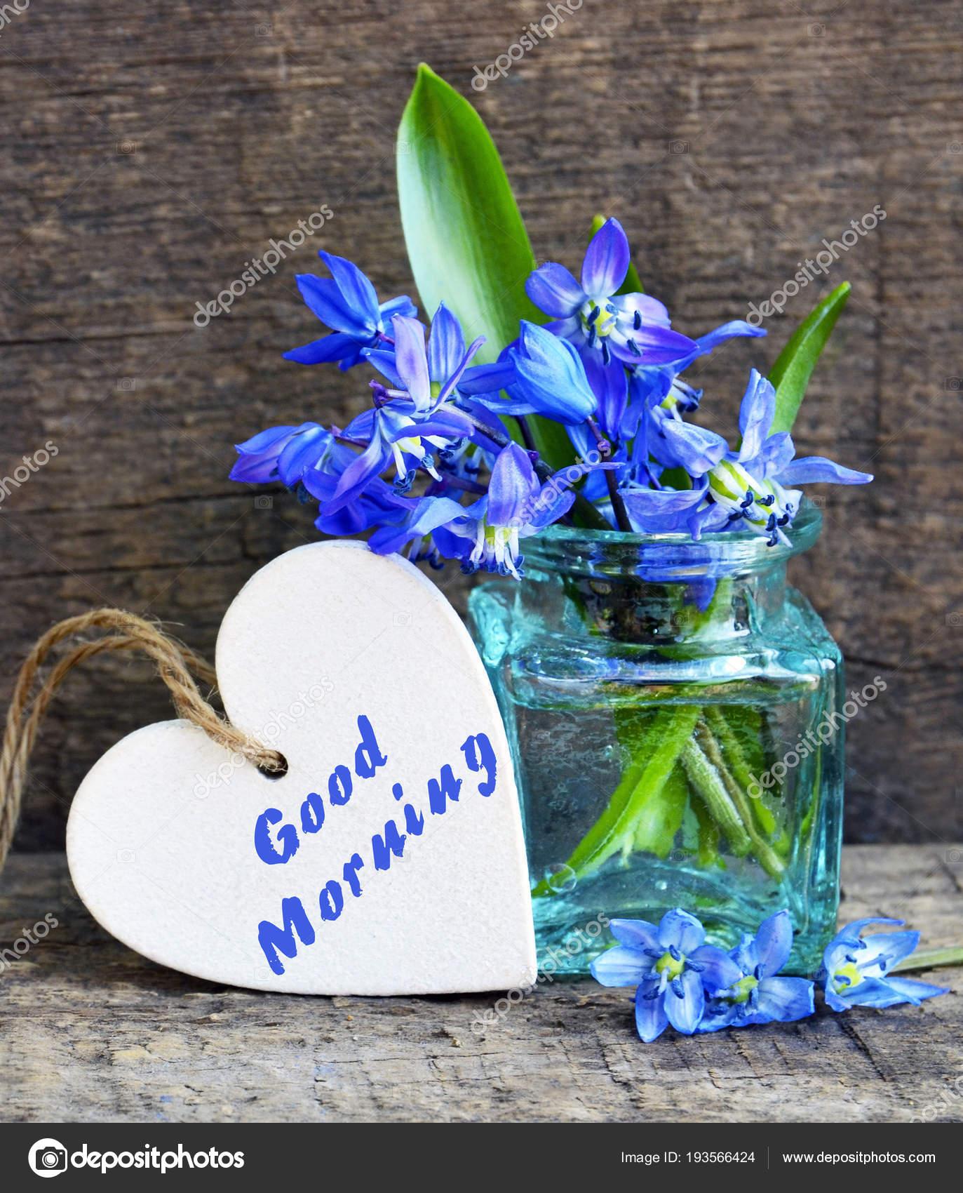 Good Morning Decorative White Wooden Heart Text Bouquet Blue Scilla