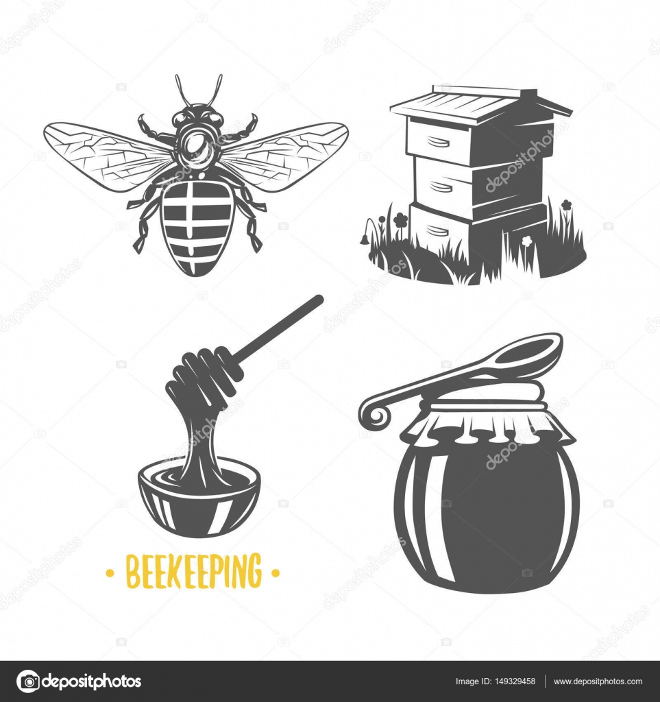 Set Of Vintage Honey Labels Badges Logotypes And Design Elements Apiary