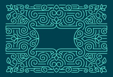 Linear frames, design template. Decorative background for greeting card in ornamental style