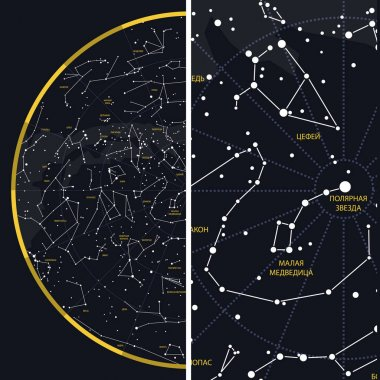 Night Sky with Constellations. Russian designation.