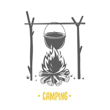 Illustration of bonfire. Camping.