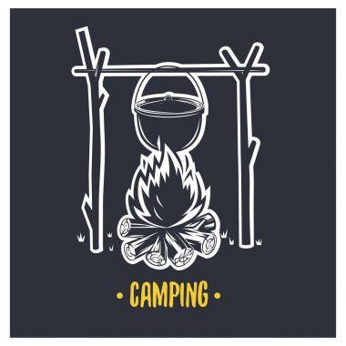 Illustration of bonfire. Camping.