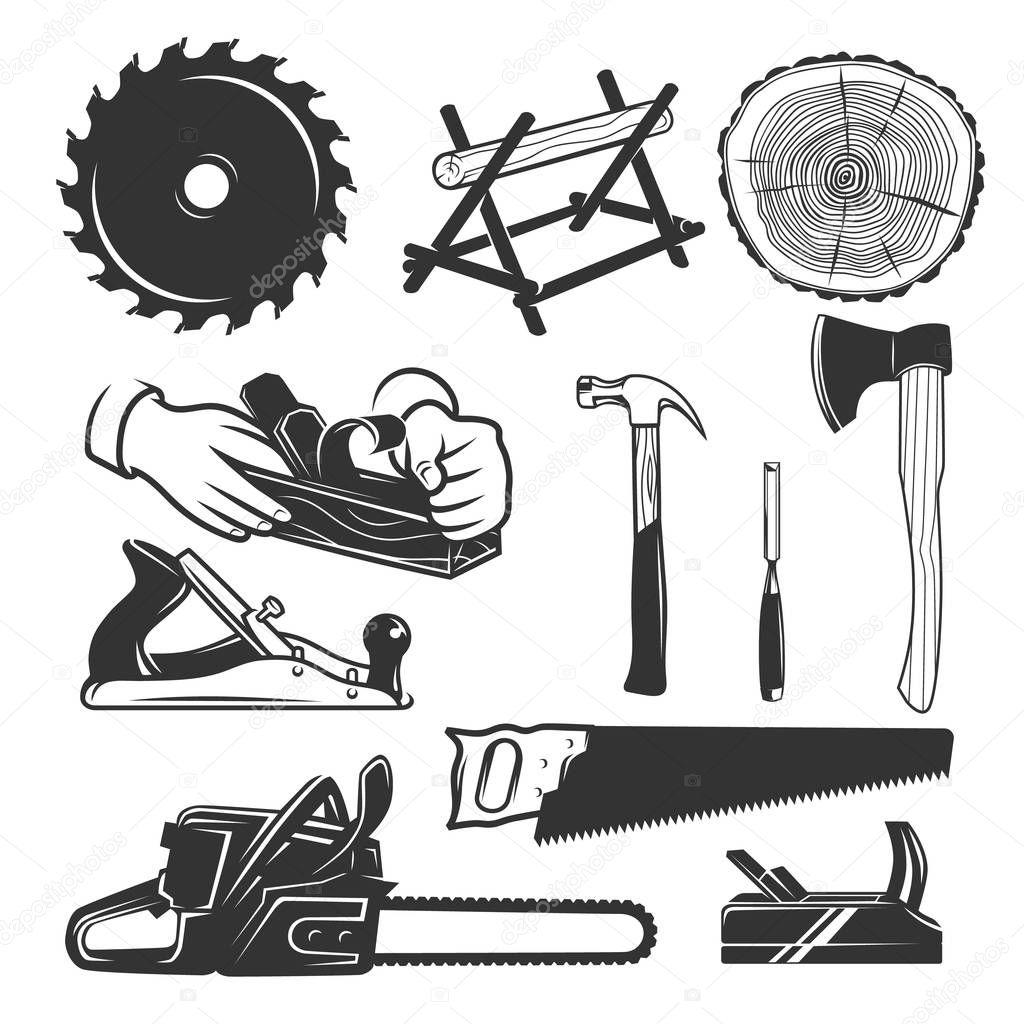 Carpentry Tools. Logo Templates . Stock Vector