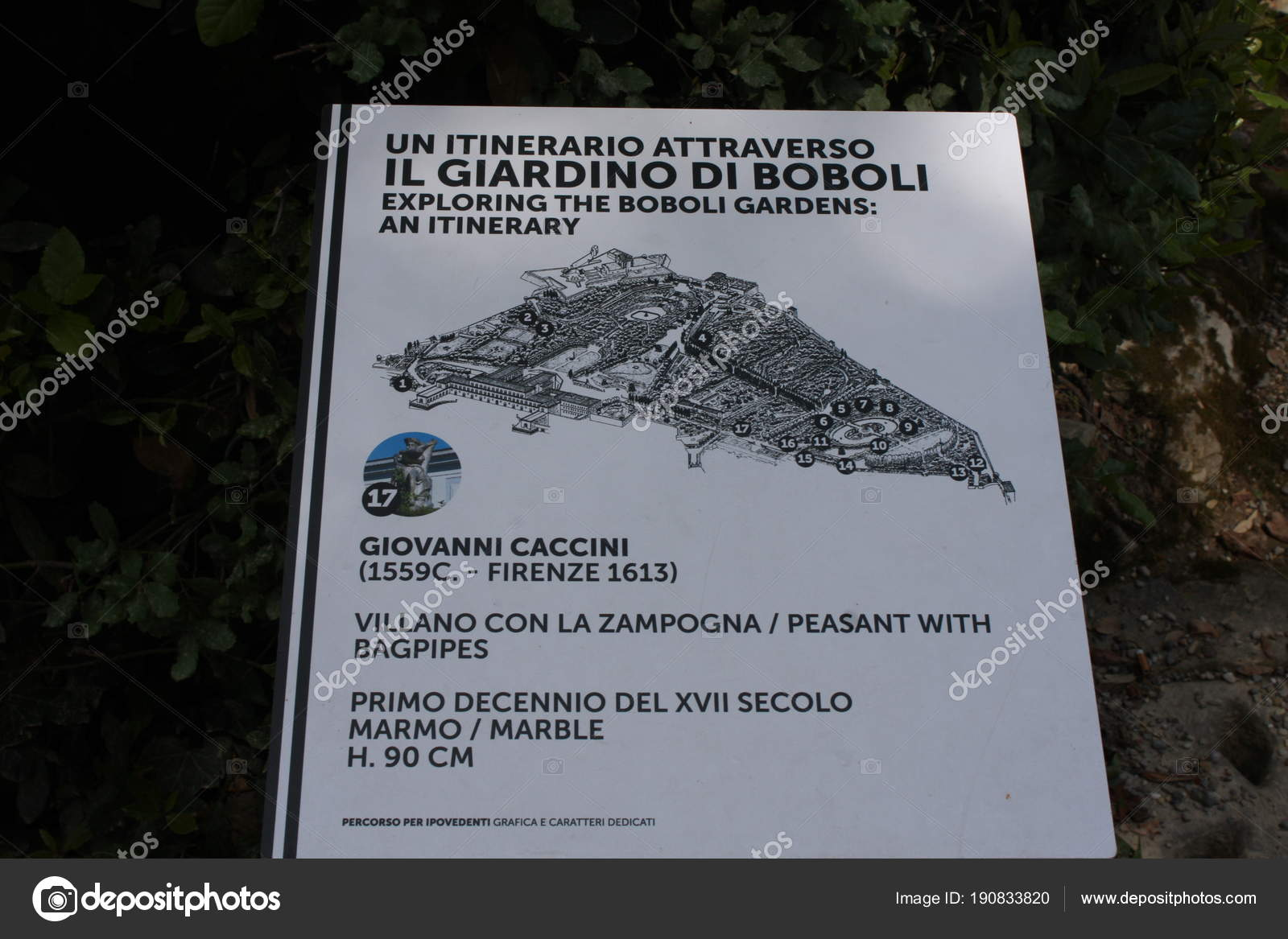 Florence Italy May 2017 Map Boboli Gardens Florence Italy Stock