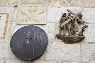 The Via Dolorosa - processional route in the Old City of Jerusalem, believed to be the path that Jesus walked on the way to his crucifixion -The 5th station.