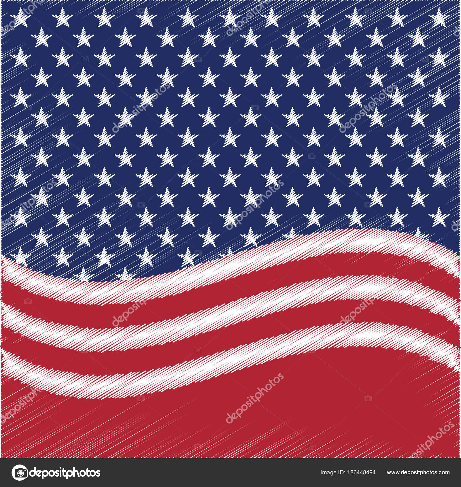Fondo de vector de estrellas de Estados Unidos. Papel patriótico ...