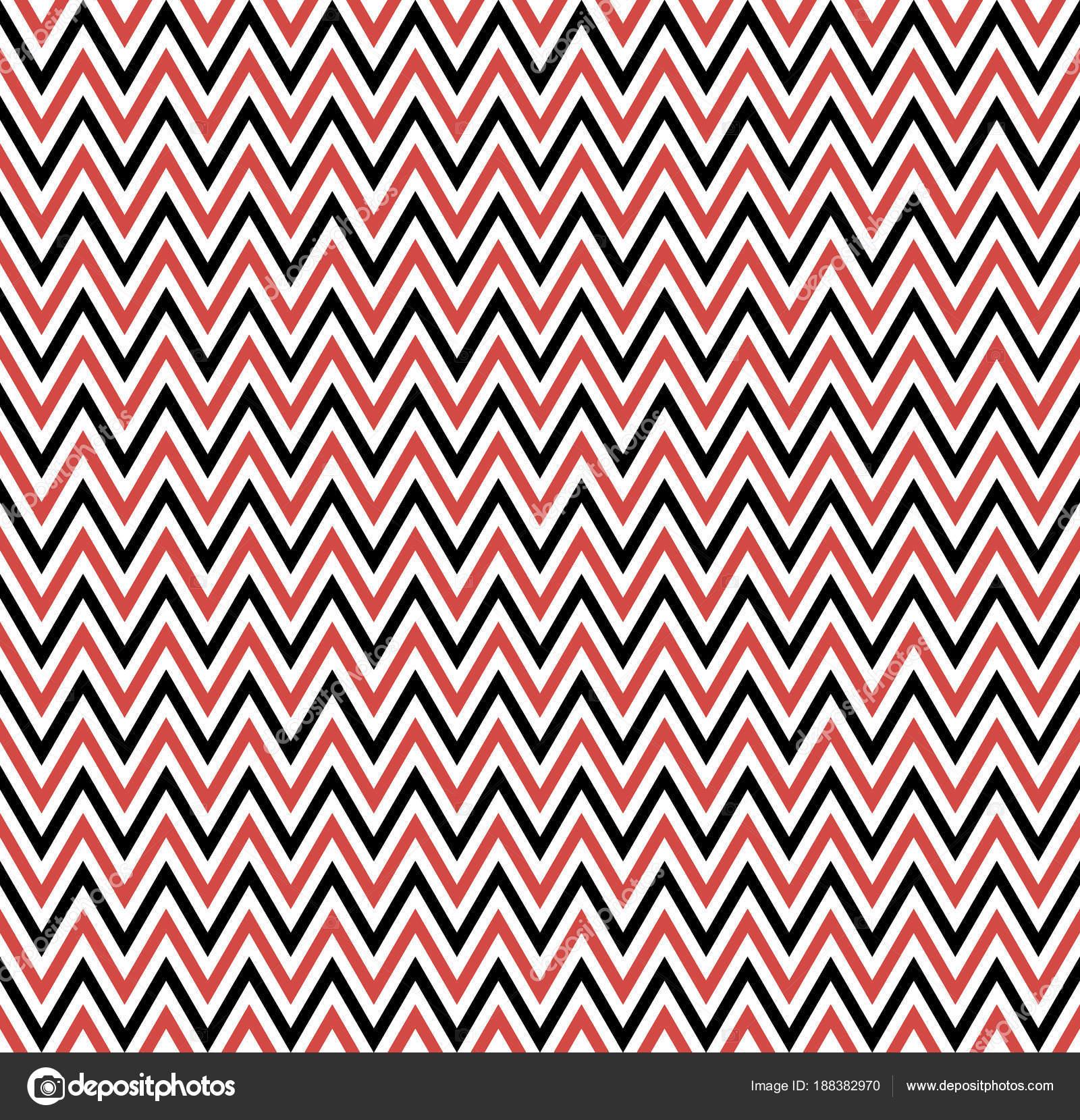 Querstreifen rote Zick-Zack-Muster. Geometrische sich wiederholendes ...