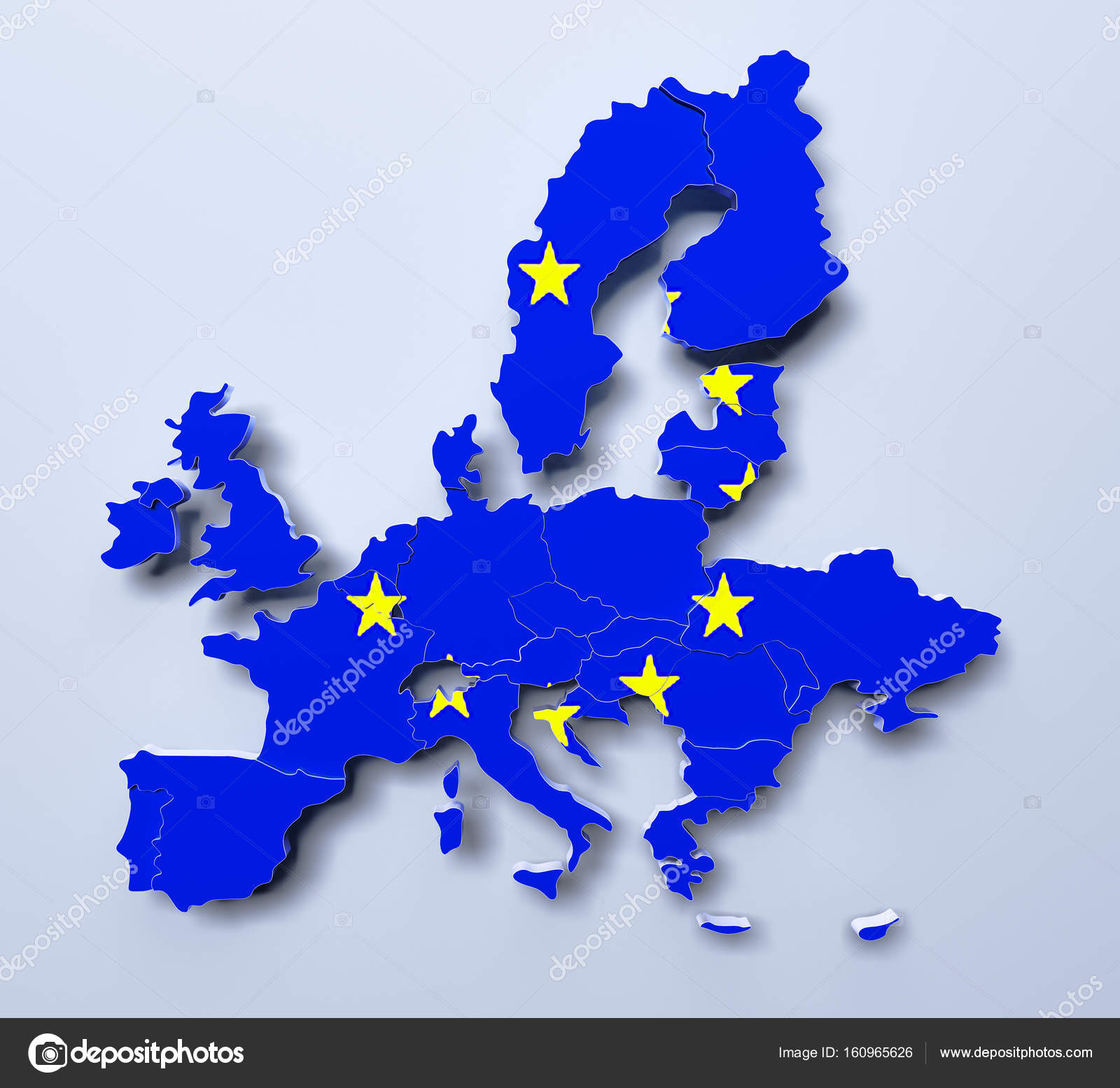 European Union Map 3d rendered image — Stock Photo