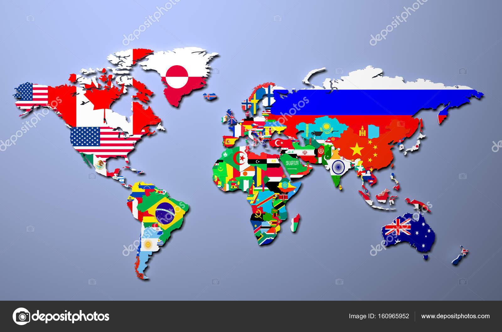 die weltkarte Die Weltkarte mit allen Staaten und ihre Flaggen 3d illustration  die weltkarte