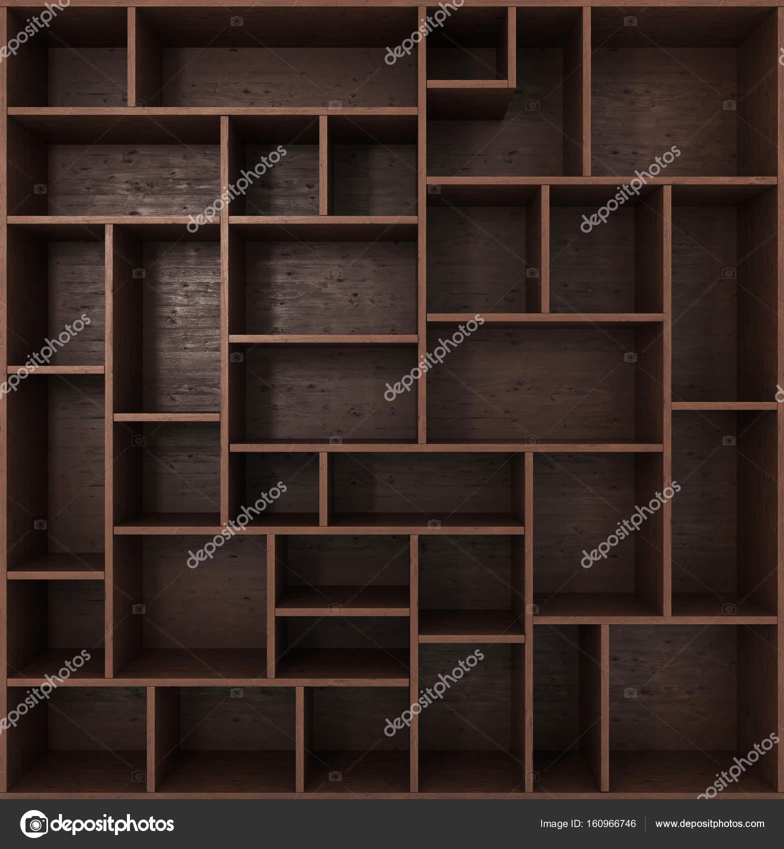 Unika Mörk bokhylla med hyllor isolerade på vit bakgrund CW-86