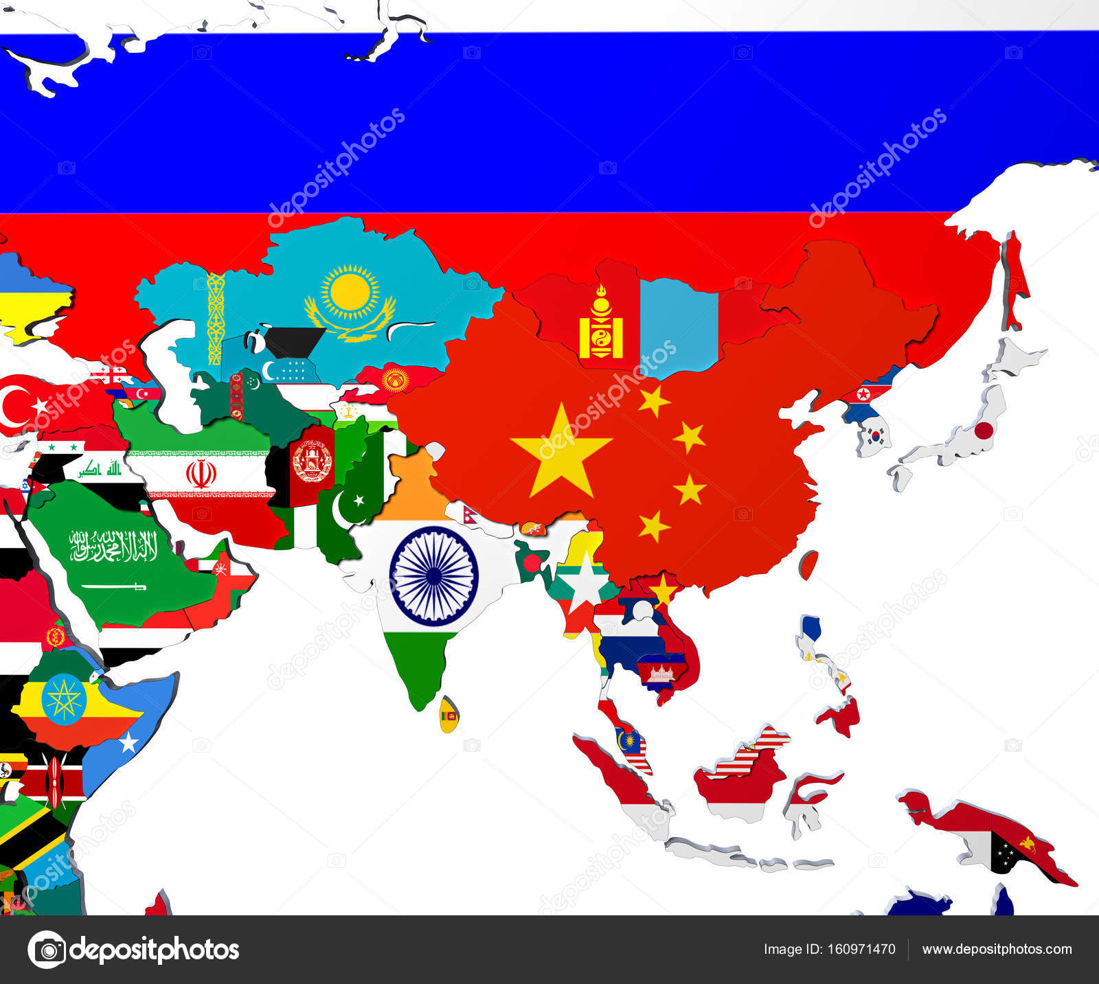 Map Of Asia 3d.Asia Map Highly Detailed 3d Illustration In White Stock Photo