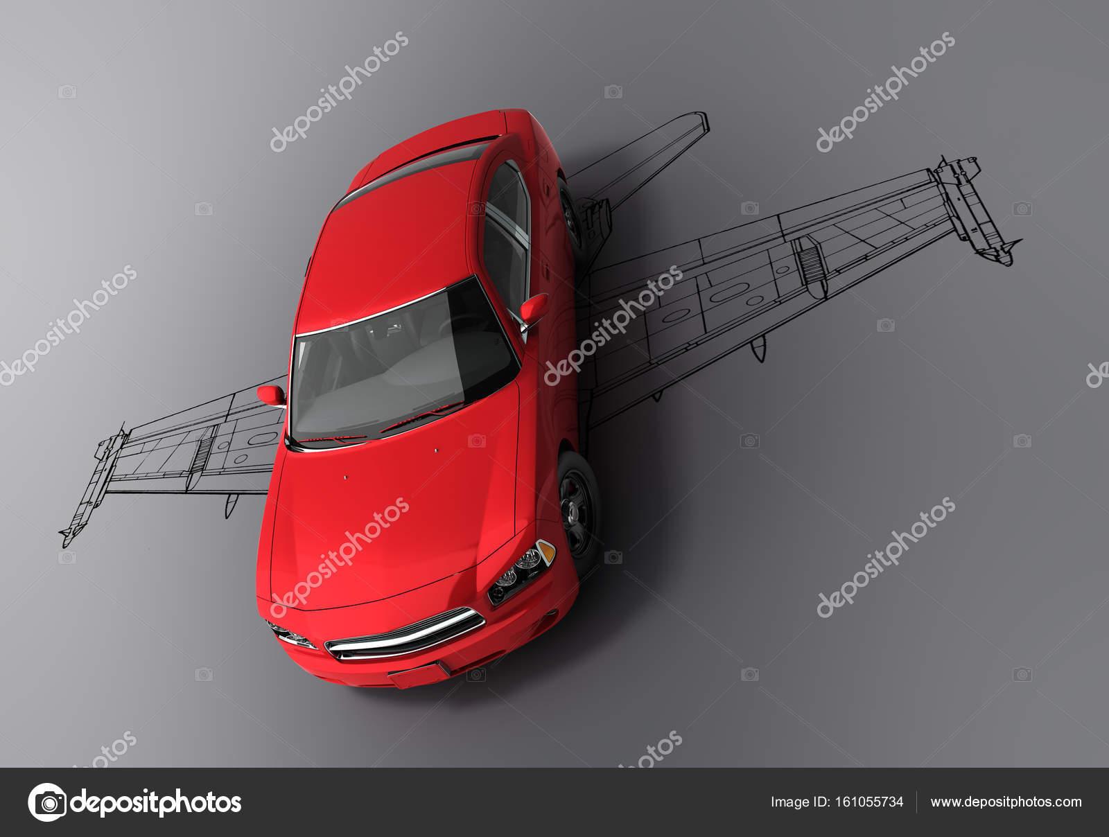Konzept der schnellen Autos rote Auto mit der Silhouette eines ...