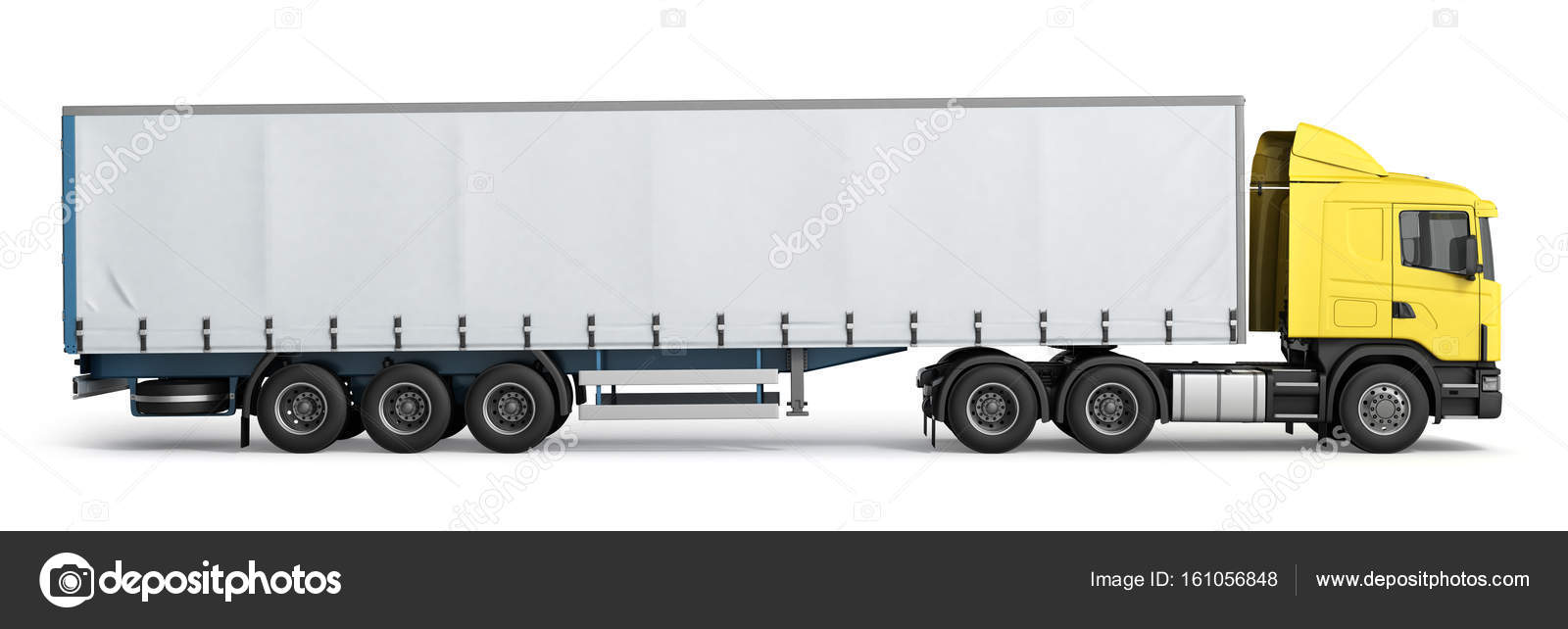 big truck trailer on white background with soft shadows 3d illus