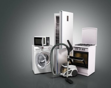 Home appliances Group of white refrigerator washing machine stov
