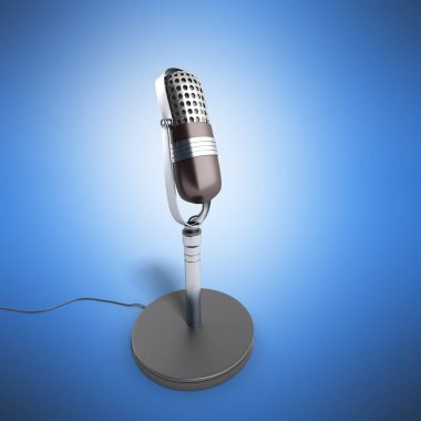 Vintage silver microphone isolated on blue background 3d render