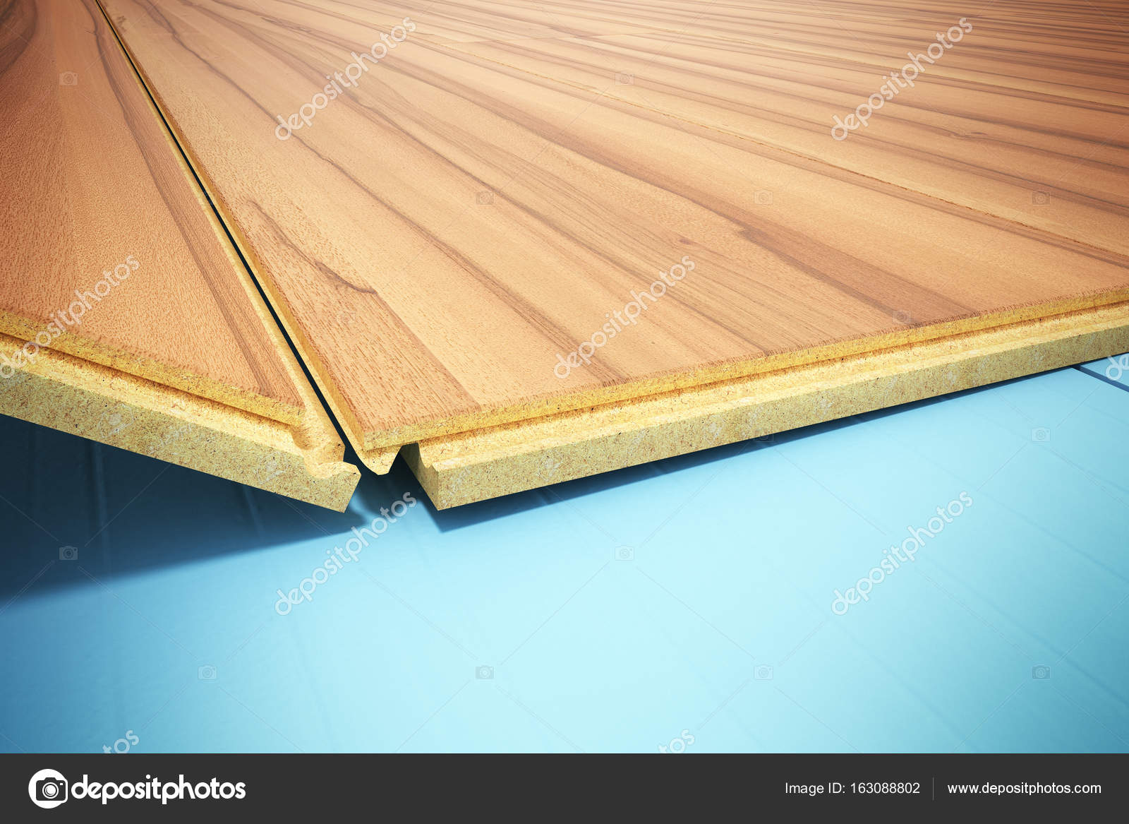 Installing Wooden Laminate Flooring With Insulation And Soundpro Stock Photo
