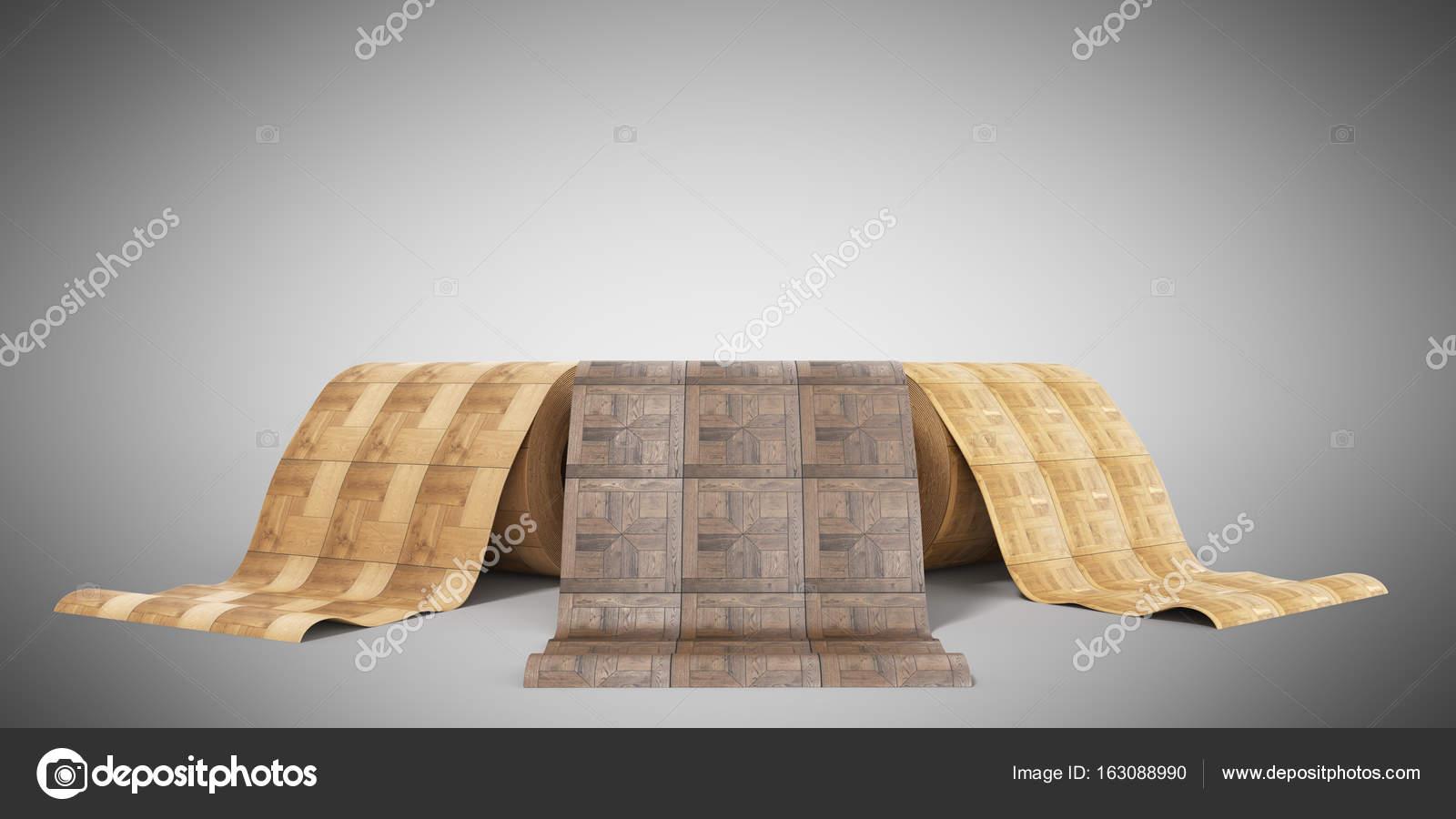 Rollen van linoleum met houtstructuur 3d illustratie op grijs