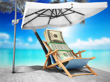 Concept of a credit vacation Concept travel One hundred dollar b