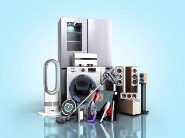 Home appliances  E commerce or online shopping concept 3d render on blue gradient