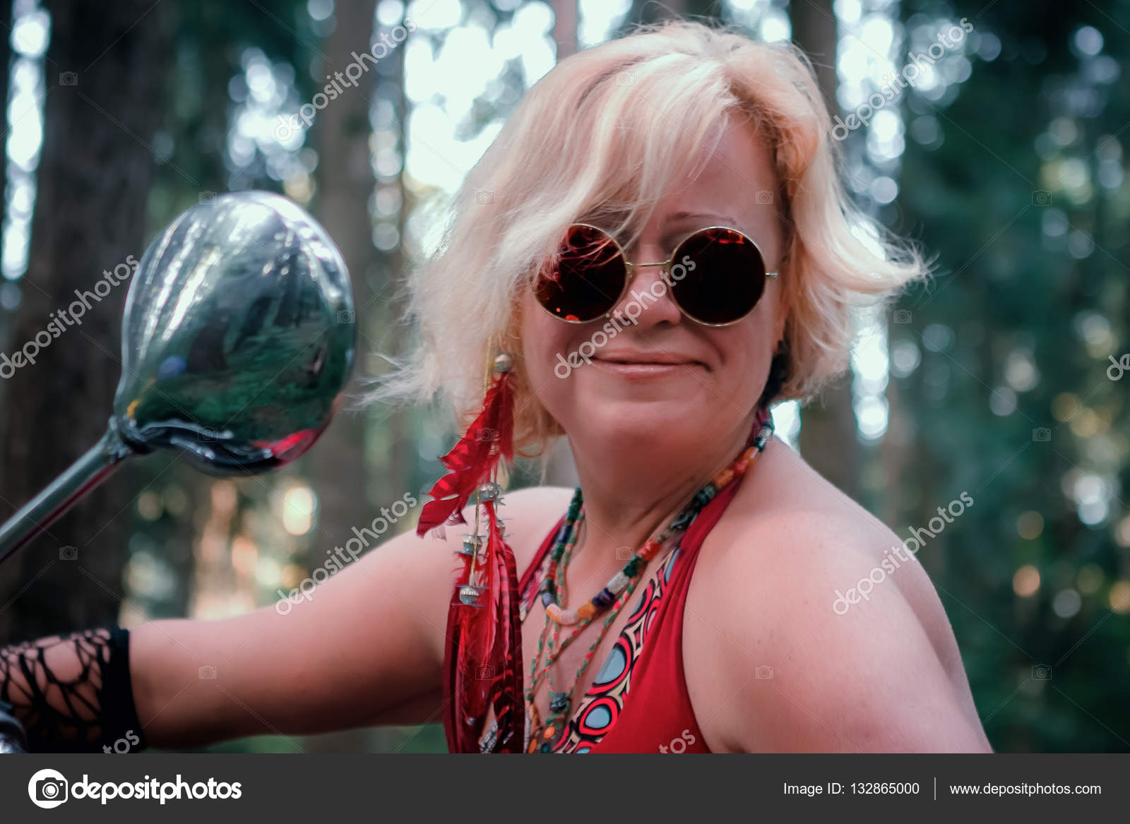 Mature blonde with sunglasses