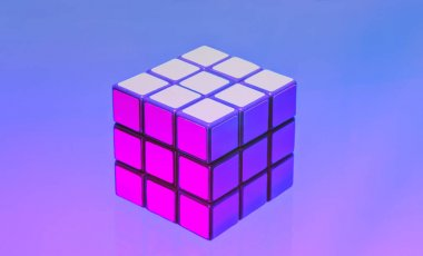 Rubik's Cube On A Lilac-blue Background. Moscow, 2018.
