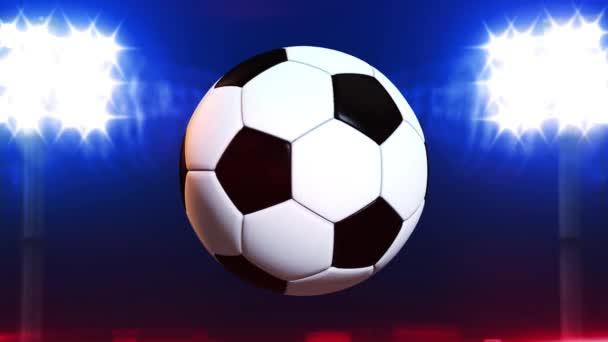 4k Video-Fußball auf Feld Stadion Licht Hintergrund