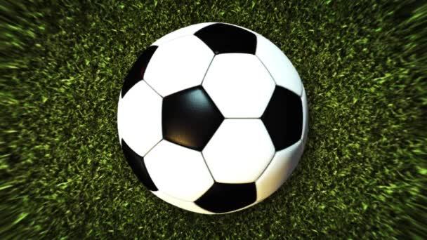 Soccer Ball On Field Stadium green grass Background 4K video