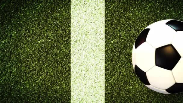 Labdarúgás labda a pályán stadion zöld fű Háttér 4k videó