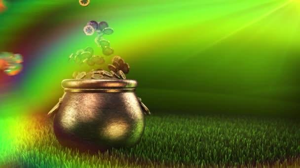 Shamrock. Den svatého Patrika symbolizuje hrnec zlatého pozadí. Patrick Day mince s shamrock list. Patrick Day Pub Party.