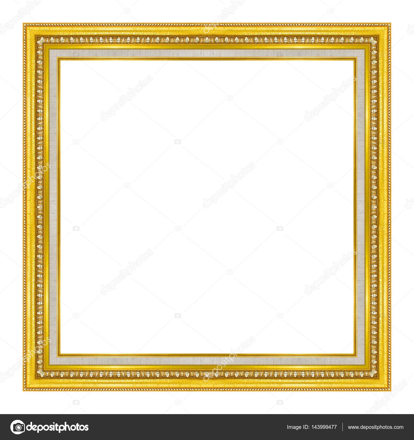 cuadro marco madera oro tallado patrón aislada sobre fondo blanco ...