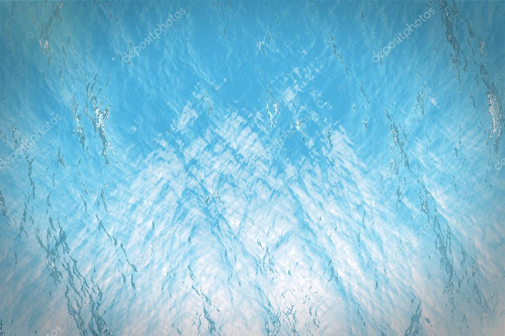 3d rendering surface underwater blue background in sea