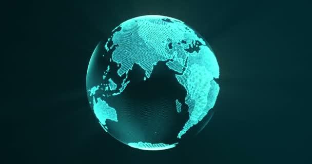 Erde aus blauen Teilchen und Spinnerei. rotierende Globus, leuchtende Kontinente mit akzentuierten Kanten. abstrakte Animation mit Leucht- und Lichtstrahleffekten. 4k, loop, uhd, prores