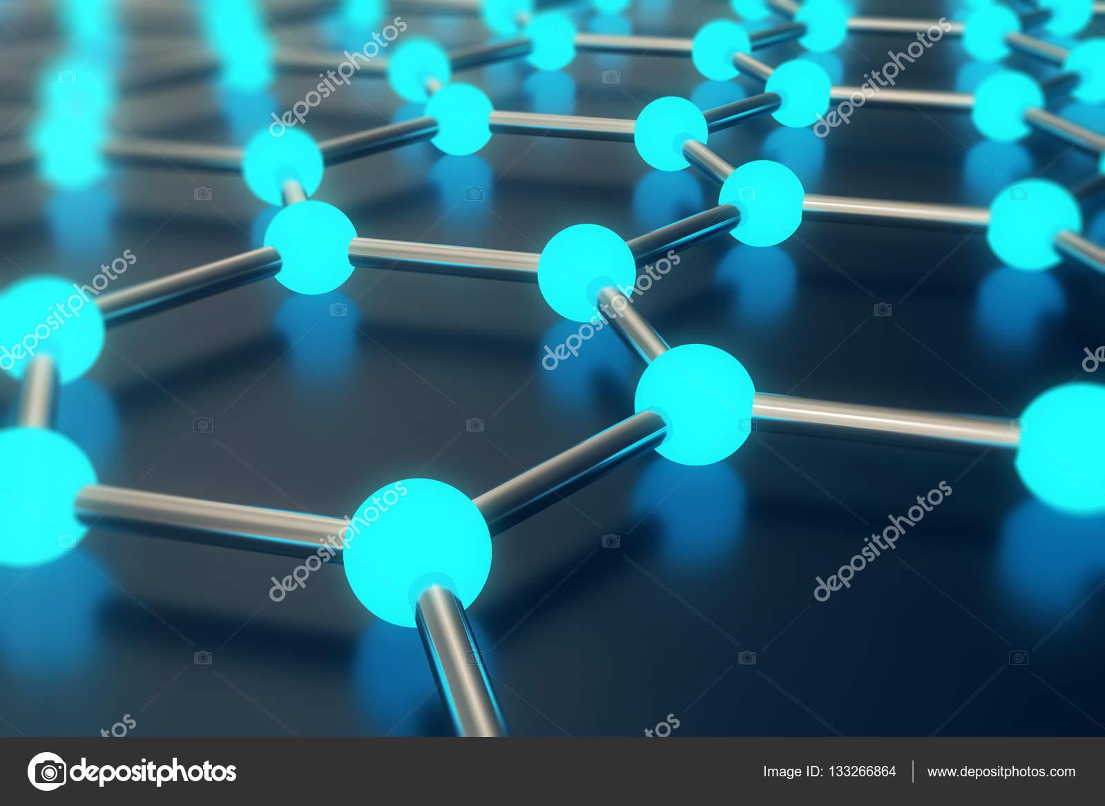 Nanotecnologia Estructura Cristalina 3d Render Abstracto