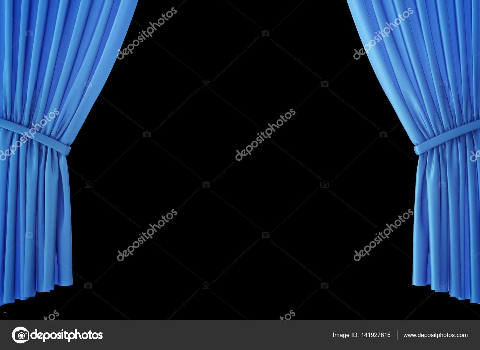 Blauw fluweel fase gordijnen, dieprode theater gordijnen. Zijde ...