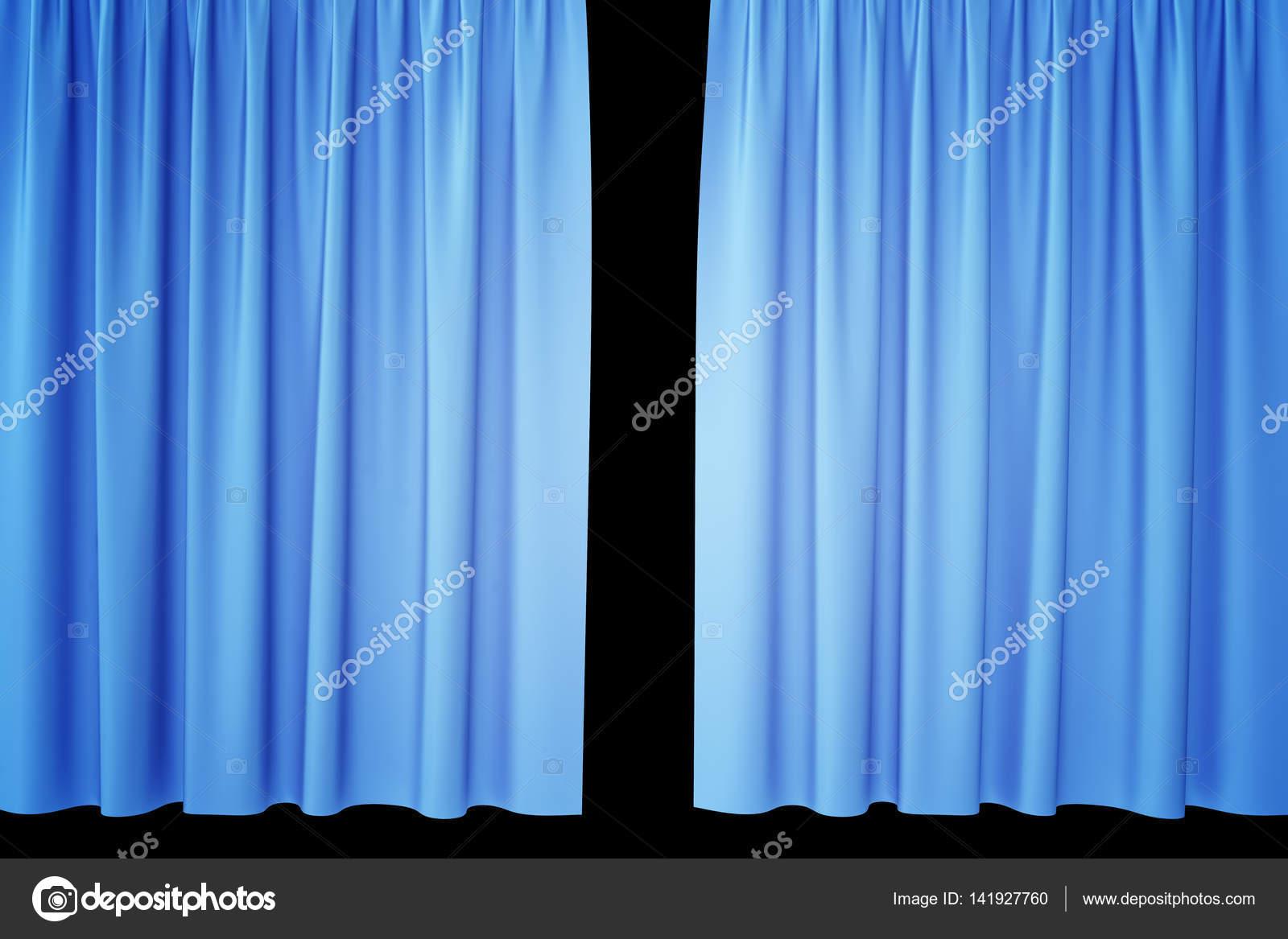 Open blauwe zijden gordijnen voor theater en cinema met een zwarte ...