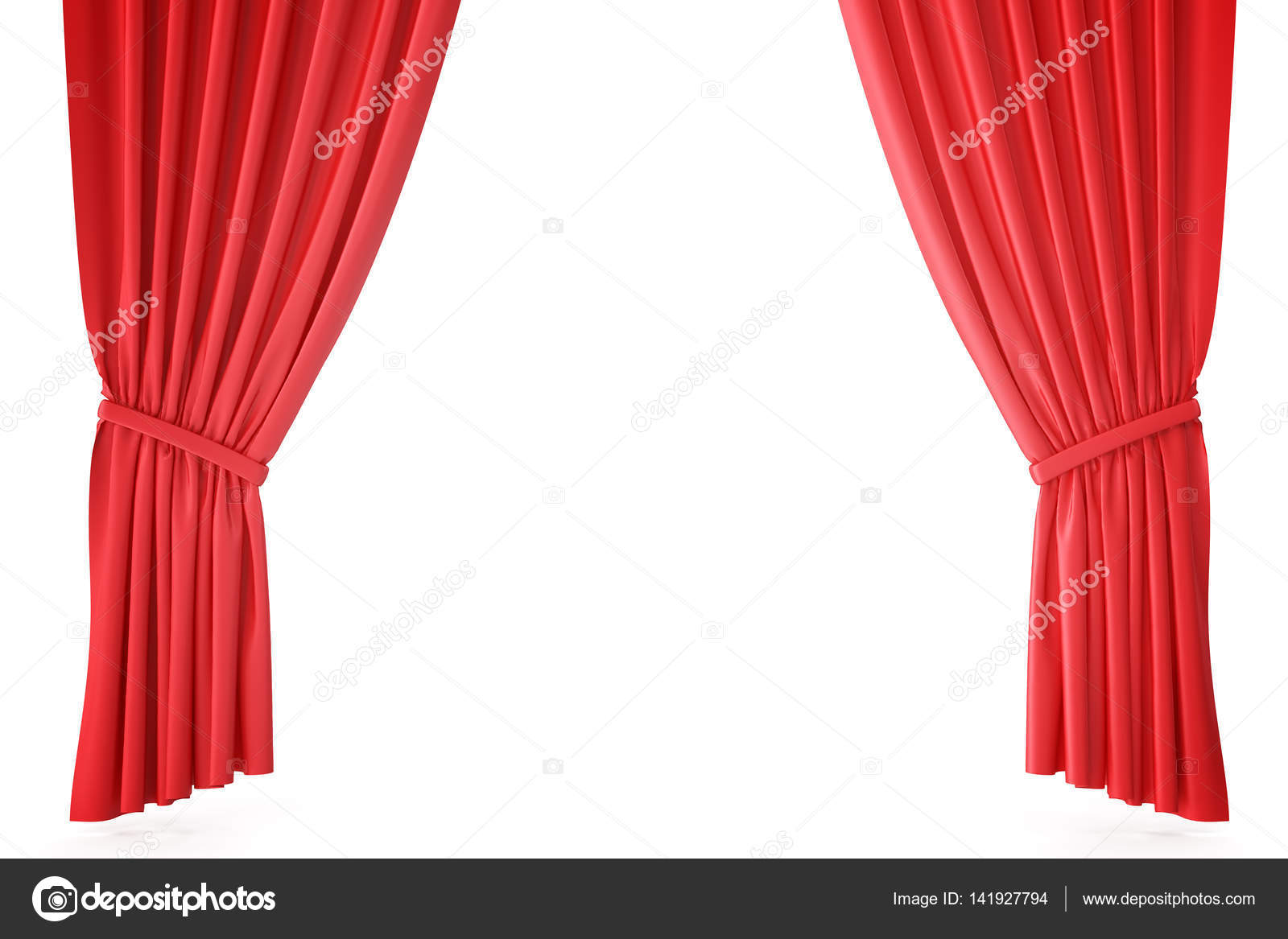 Rode fluwelen fase gordijnen, dieprode theater gordijnen. Zijde ...