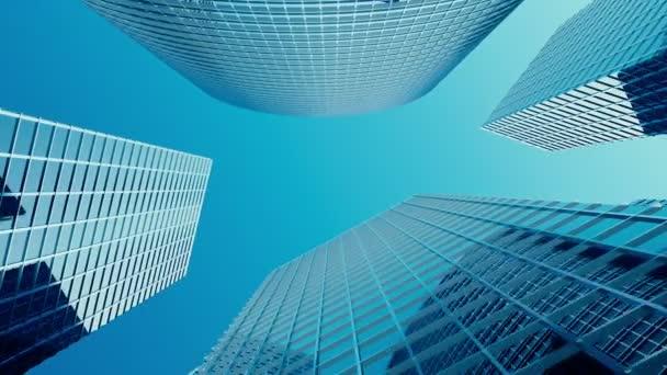 Mrakodrapy s modrým sklem, vysoký vzrůst, budovy, mrakodrapy, obchodní koncept úspěšné průmyslové architektury. 3D animace