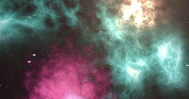 Vesmíru hvězdné pozadí s mlhovinou. Barevné hvězdnaté noční obloze na pozadí vesmíru. 3D animace