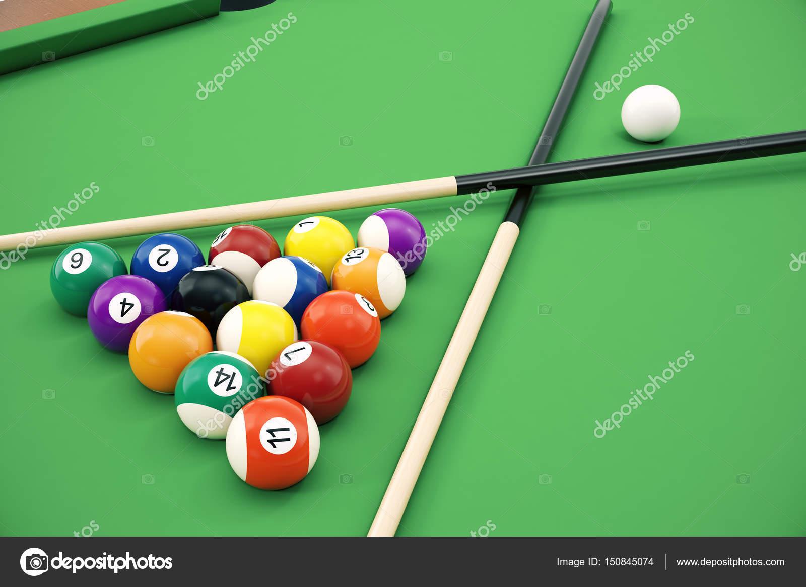 3D illustration American pool snooker balls background. American ...
