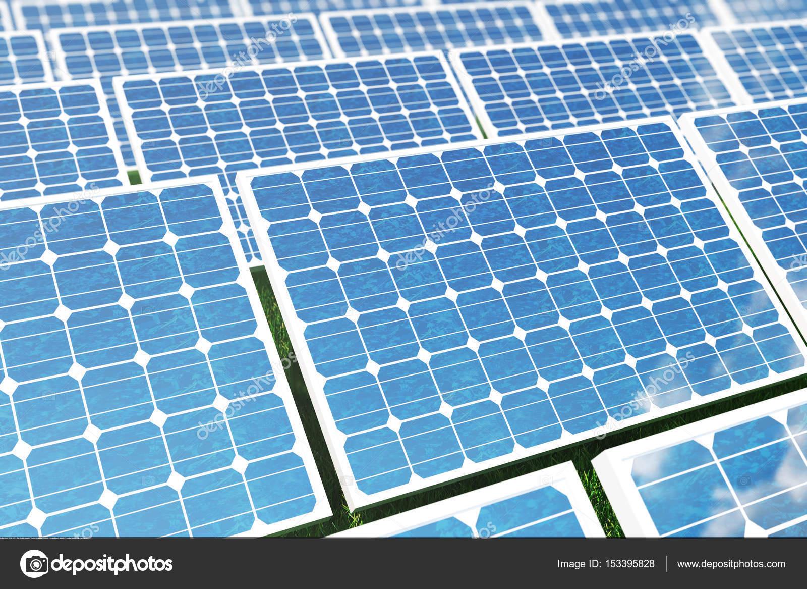 3 D イラスト太陽エネルギー コンセプト芝生の上の太陽電池パネル