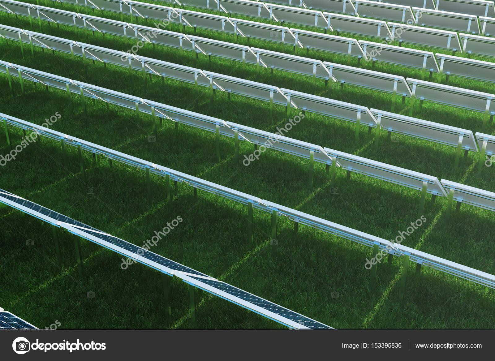 Exquisit Alternative Zu Rasen Referenz Von Blaue Sonnenkollektoren Auf Dem Rasen. Stromquelle Konzept.